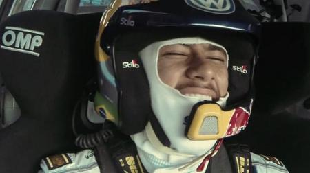 Neymar es una nena y lo demuestra en el Volkswagen Polo R WRC de Ogier