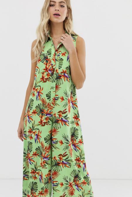 Mono Largo Casual Estilo Falda Pantalon Y Camisa Con Estampado Tropical De Asos Design