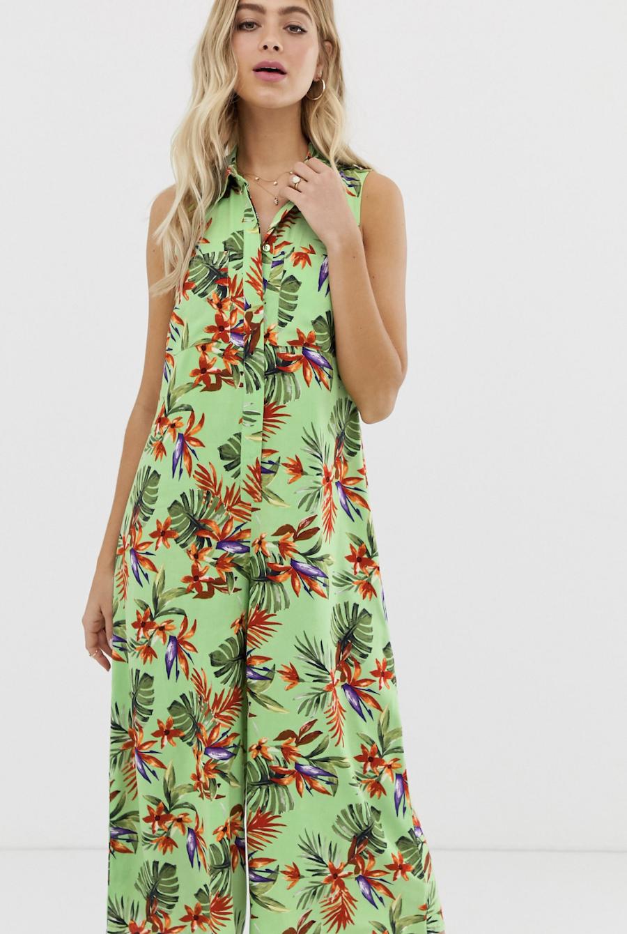 Mono largo casual estilo falda pantalón y camisa con estampado tropical de ASOS DESIGN