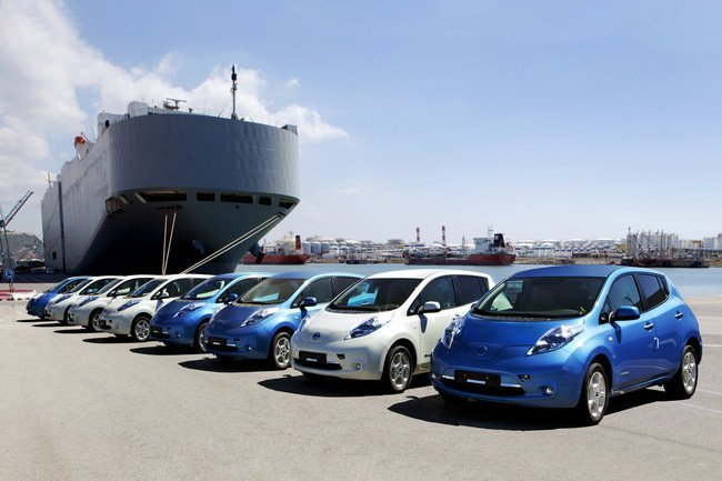 Nissan Leaf en el puerto de Barcelona