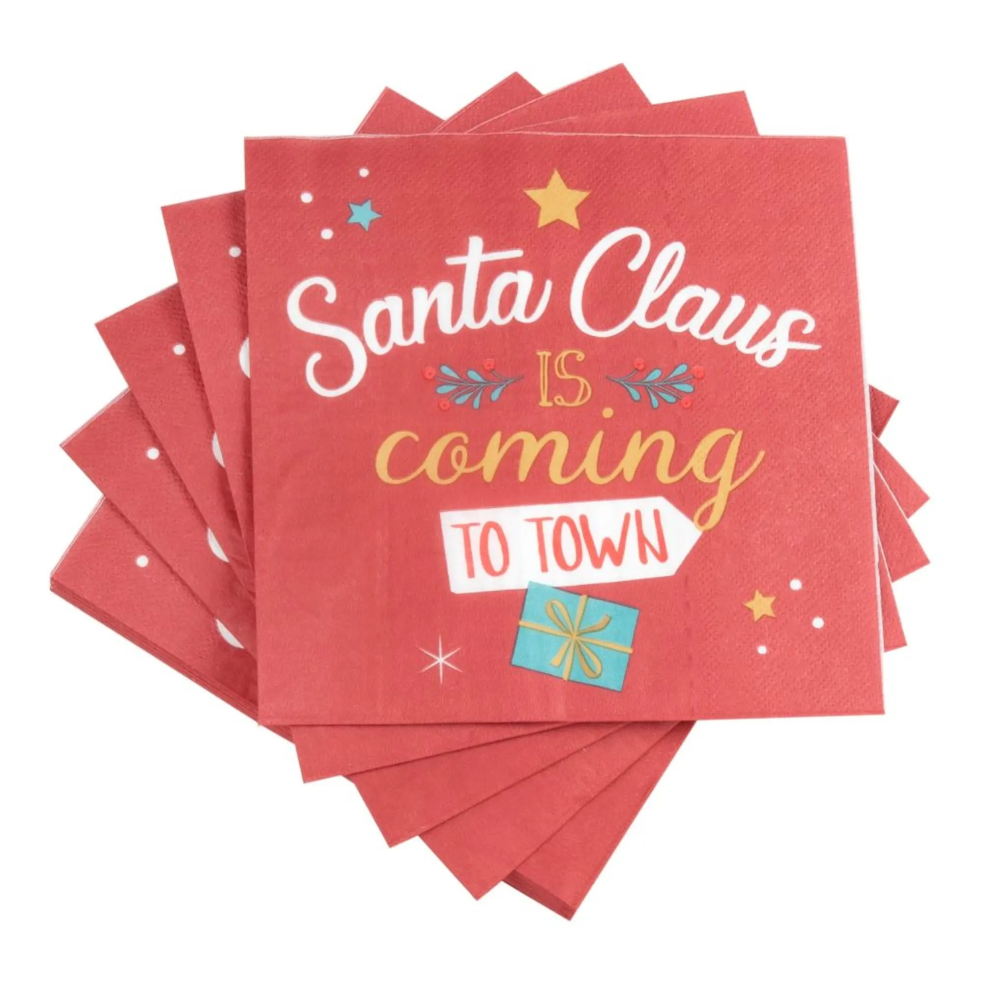 SANTA IS COMING.- Servilletas de papel rojo con estampado de Papá Noel (x20) - Lote de 5