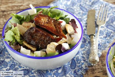 Receta de ensalada de mozzarella con cecina e higos especiados o brevas