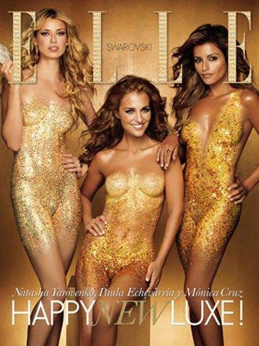 El espectacular bodypainting con Swarovski de Mónica Cruz, Natasha Yarovenko y Paula Echevarría para la portada de Elle