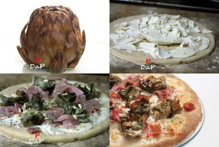Hacer pizza de alcachofas