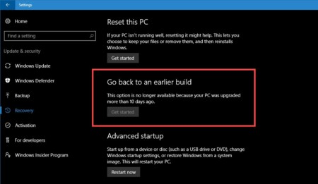 La Anniversary Update de Windows 10 reduce el margen para volver al Windows anterior