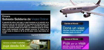 Subasta solidaria de viajes online