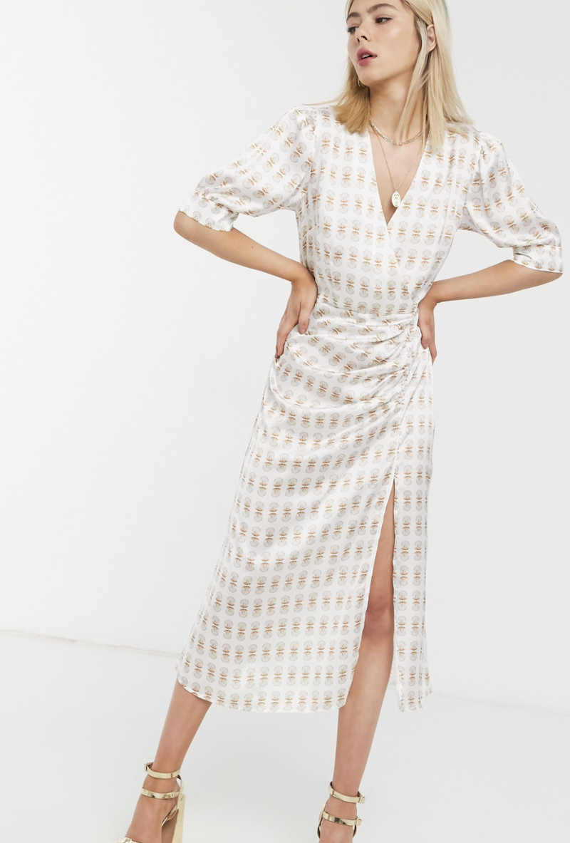 Vestido midi de satén con estampado y detalle de botones de efecto perla Nefeli de Stefania Vaidani
