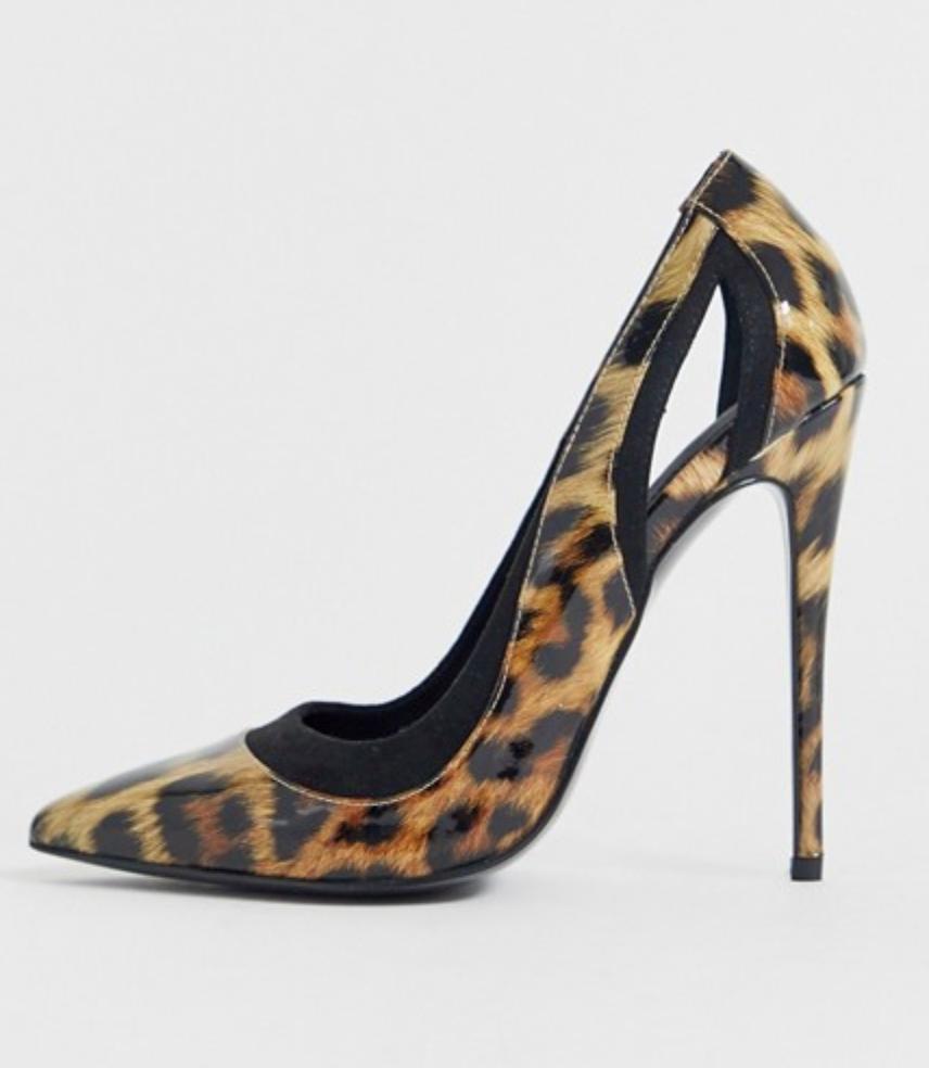 Zapatos de salón con tacón de aguja y diseño de leopardo Peaky de ASOS DESIGN