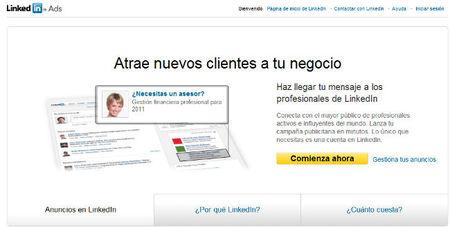 Linkedin ya tiene disponibles sus anuncios en castellano