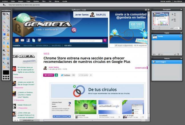 Extensión Pixlr Grabber para Chrome.