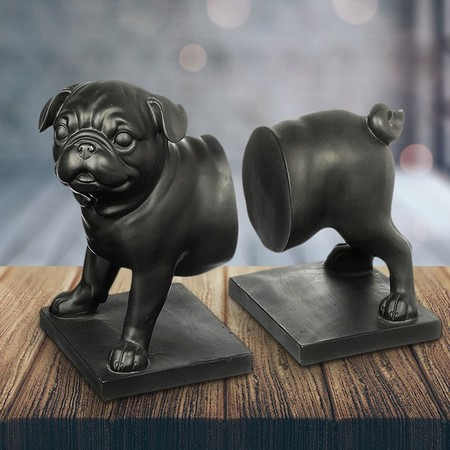 Pug Dog Bookends Black Set Of 2