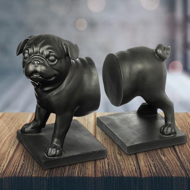Pug Dog Bookends Black Set Of 2