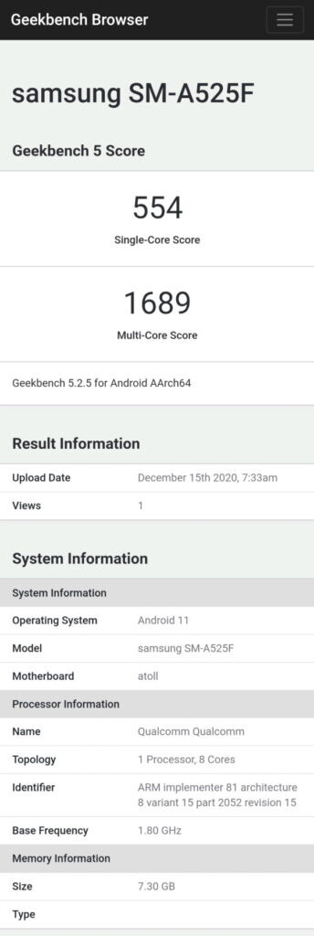 Samsung Galaxy A52 4g Sm A525f Geekbench 344x1024