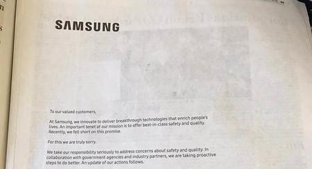 Samsung se disculpa por el Note 7 en una carta a página completa en varios periódicos