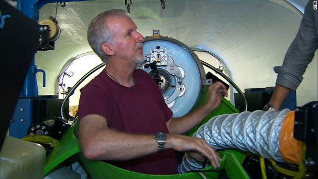 James Cameron en un sumergible