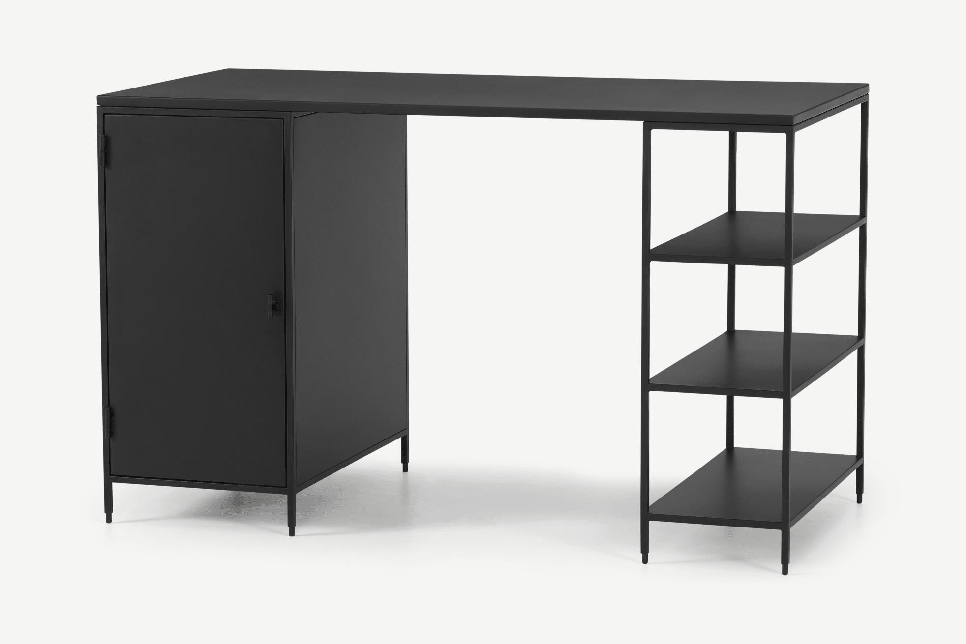 Solomon escritorio ancho, metal negro