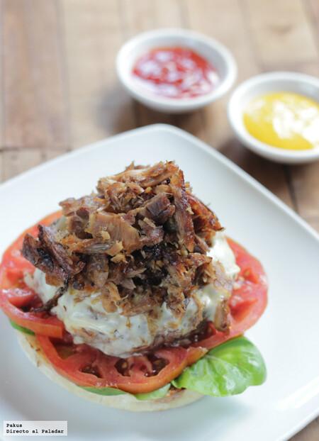 Hamburguesa de ternera con pulled pork de codillo de cerdo, para los más carnívoros