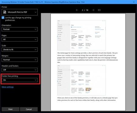 Nueva opción de impresión en Microsoft Edge