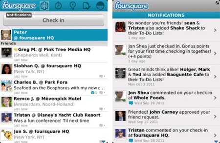Foursquare para BlackBerry recibe la nueva barra de notificaciones