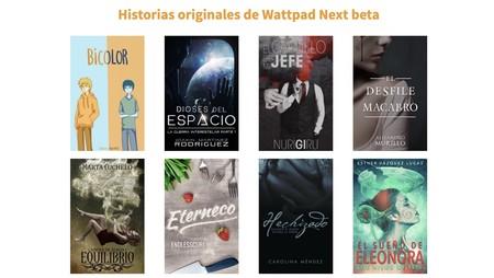 Algunas de las historias hispanohablantes seleccionadas por Wattpad para probar el programa NextBeta