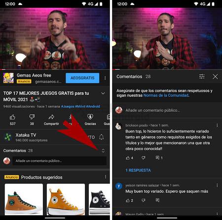 Youtube Horizontal Comentarios