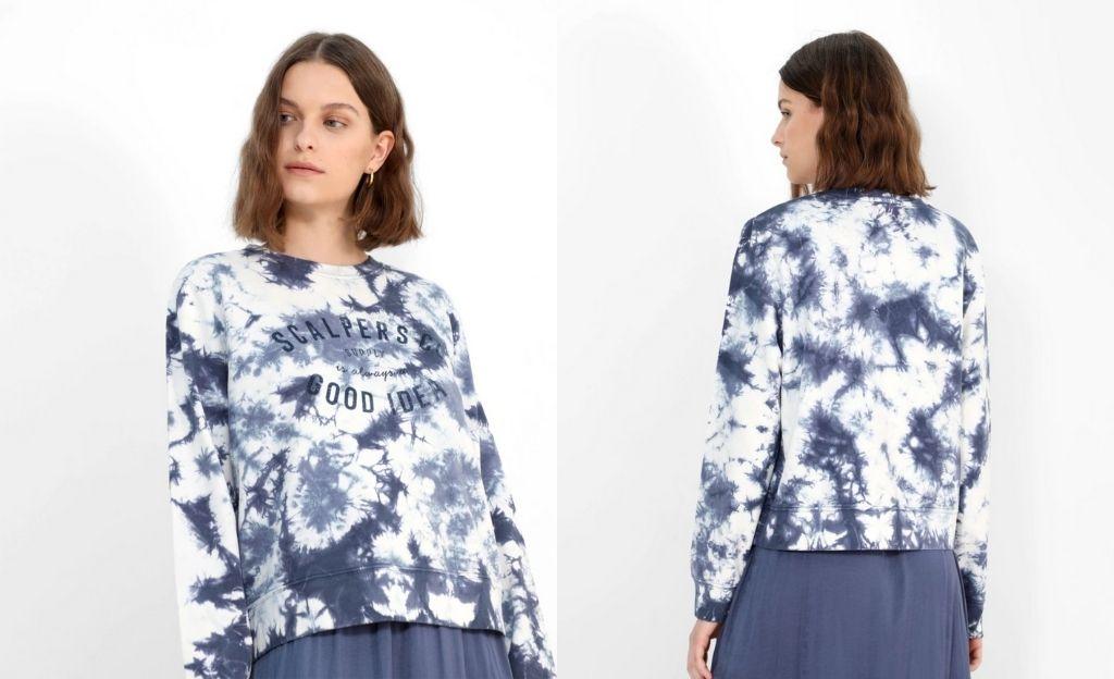 Sudadera de mujer con cuello redondo y estampado tie dye y print frontal