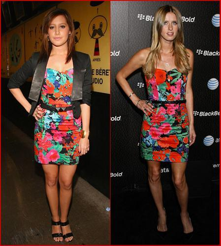 Minivestido de flores ¿Ashley Tisdale o Nicky Hilton?
