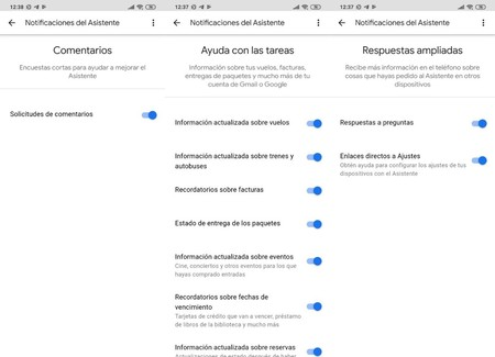Notificaciones Google Assistant