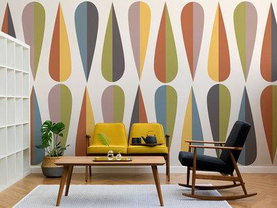 Siente el espíritu de la Bauhaus con esta colección de papeles pintados geométricos de estilo retro
