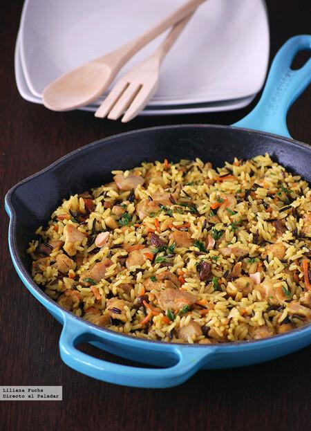 Pilaf de pollo con arroz salvaje