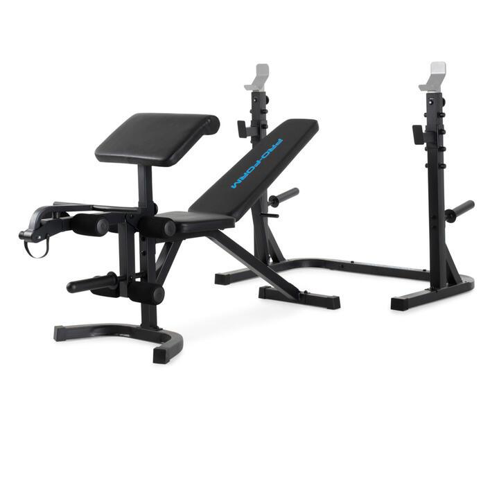 Banco musculación pesas abdominales olímpico con rack Proform XT gimnasio plegable.