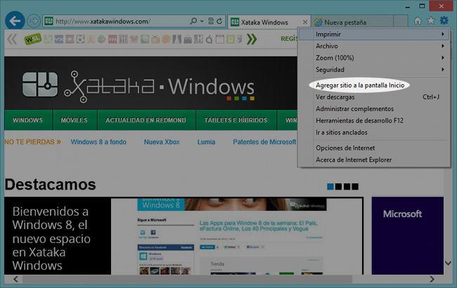 Internet Explorer 10, interfaz clásica opciones nuevas