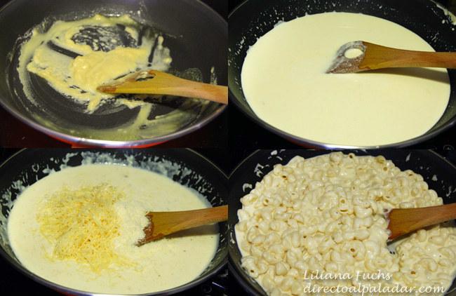 Pasta corta con salsa de nata y queso. Pasos