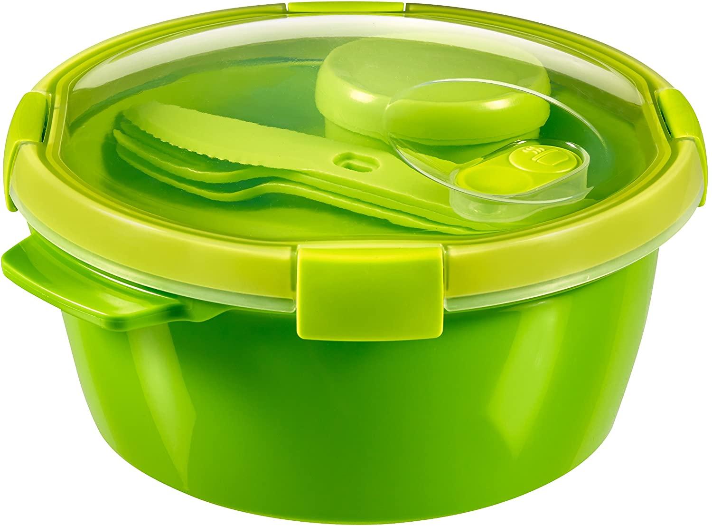 Curver - hermético Smart To Go Lunch Kit Redondo 1,6L. - Con Cubiertos y Salsera - Apto para Microondas, Lavavajillas y Congelador - Color Verde Lima