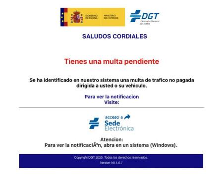 Captura de pantalla del correo en el que se suplanta a la Dirección General de Tráfico