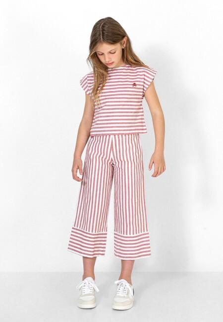 Pantalón con estampado de rayas confeccionados en mezcla de algodón y lino.