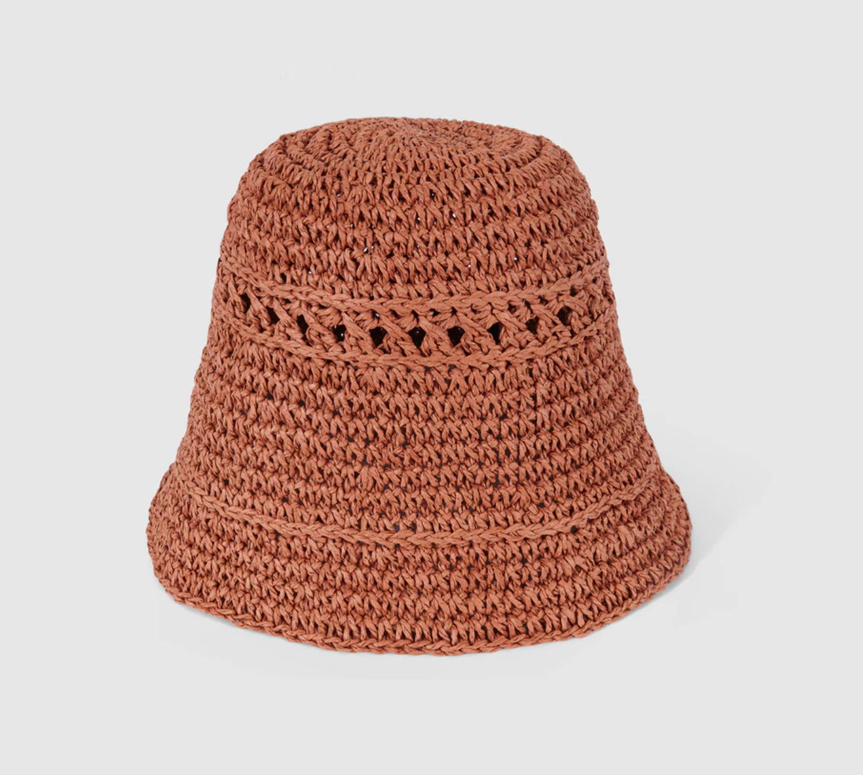 Sombrero de mujer Tintoretto cloché rafia naranja