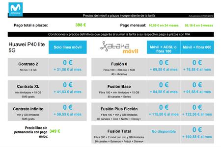 Precios Huawei P40 Lite 5g Con Pago A Plazos Y Tarifas Movistar
