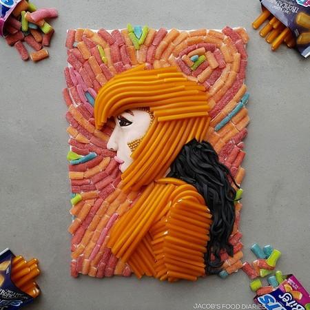 Madre Hace Obras De Arte Infantiles Con Comida Saludable Hijos Dulces