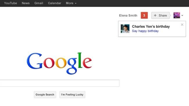 Google añade recordatorios de los cumpleaños de nuestros contactos de Google+ en la página principal del buscador