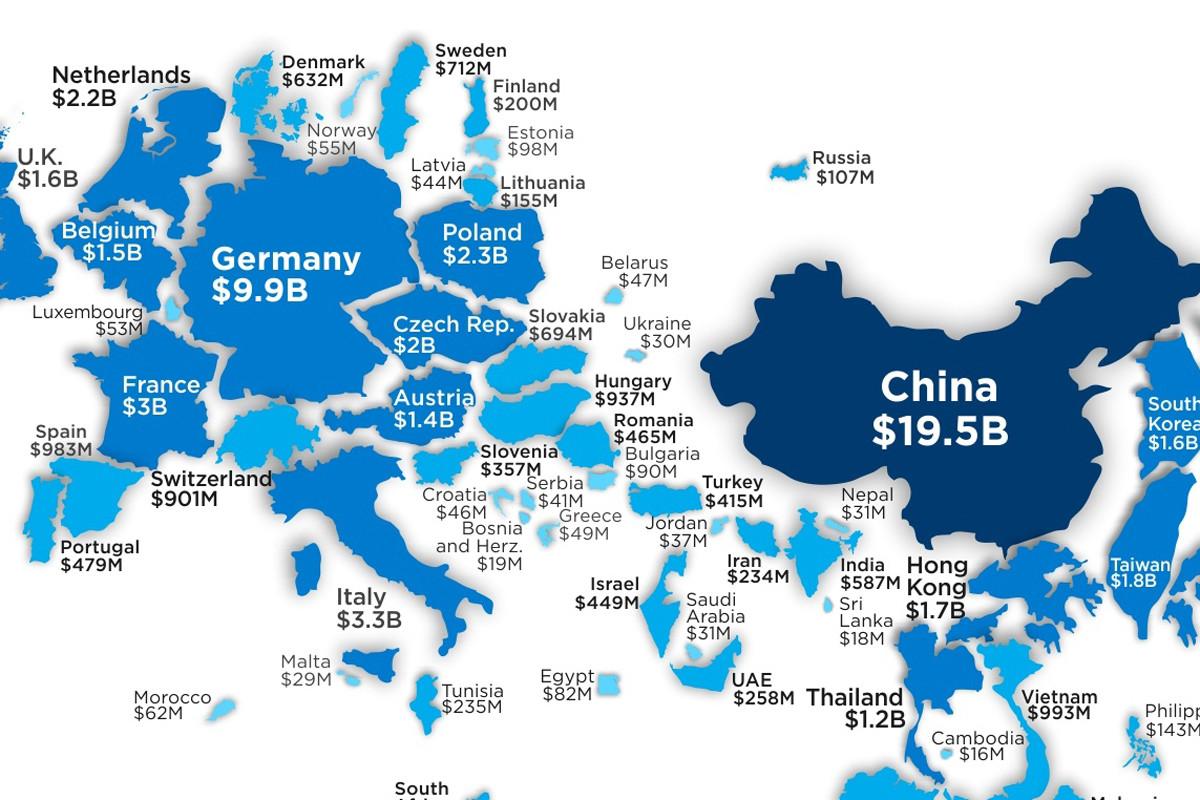 ¿Qué países del mundo están exportando más plástico? Este mapa ajusta su tamaño a sus ventas