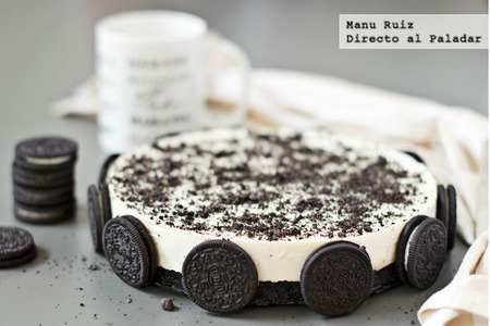 Tarta de chocolate blanco y galletas oreo. Receta con Thermomix