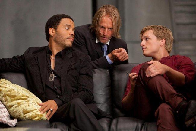 Woody Harrelson, Lenny Kravitz y Josh Hutcherson en 'Los juegos del hambre'