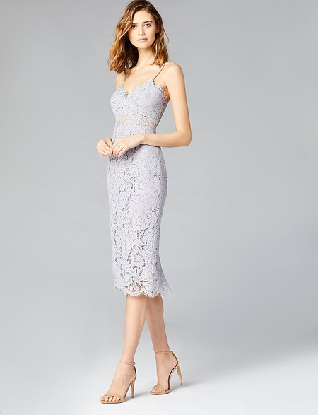 Vestido Elegante En Gris De Encaje