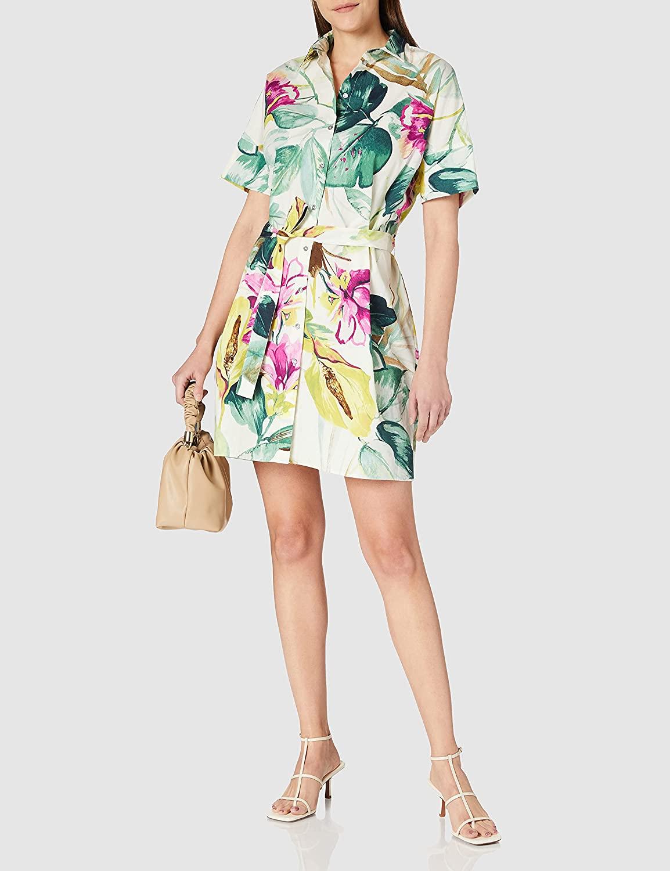 Vestido corto de estilo camisero con estampado de flores de Desigual