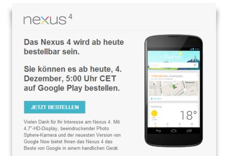Google Nexus 4 vuelve hoy a la venta en Alemania. También en Reino Unido