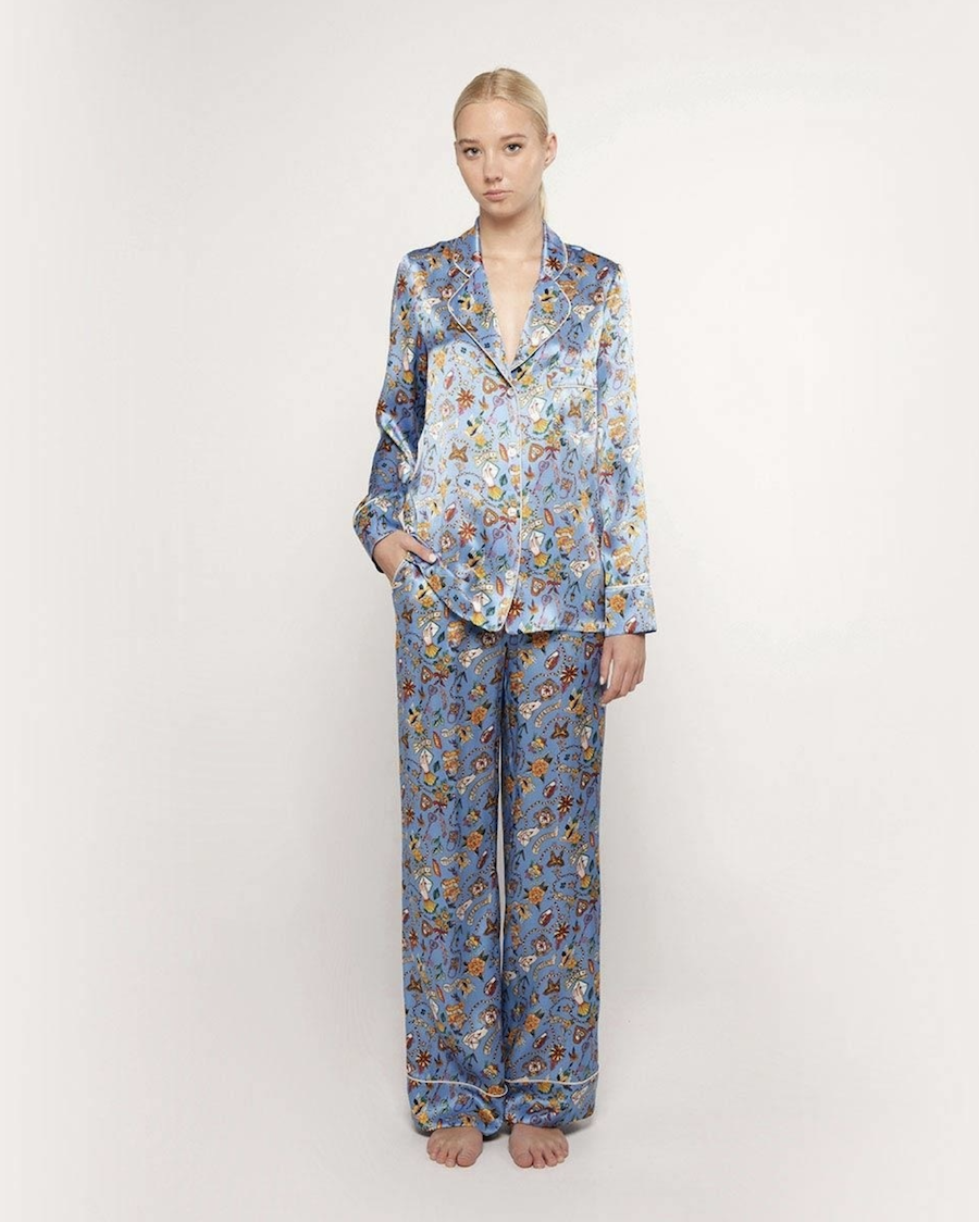 Pijama de mujer estampado 100% seda de manga larga
