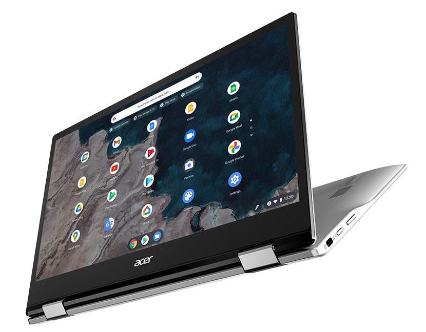 """El ultraportátil convertible Acer Chromebook Spin 513 pesa menos de 1,2 Kg y cuenta con pantalla táctil IPS FHD de 13,3"""", autonomía de hasta 13,5 horas, procesador Qualcomm Snapdragon 7c octacore, 8 GB de RAM, 64 GB de espacio y toda la versatilidad que brindan unas bisagras con giro 360º."""
