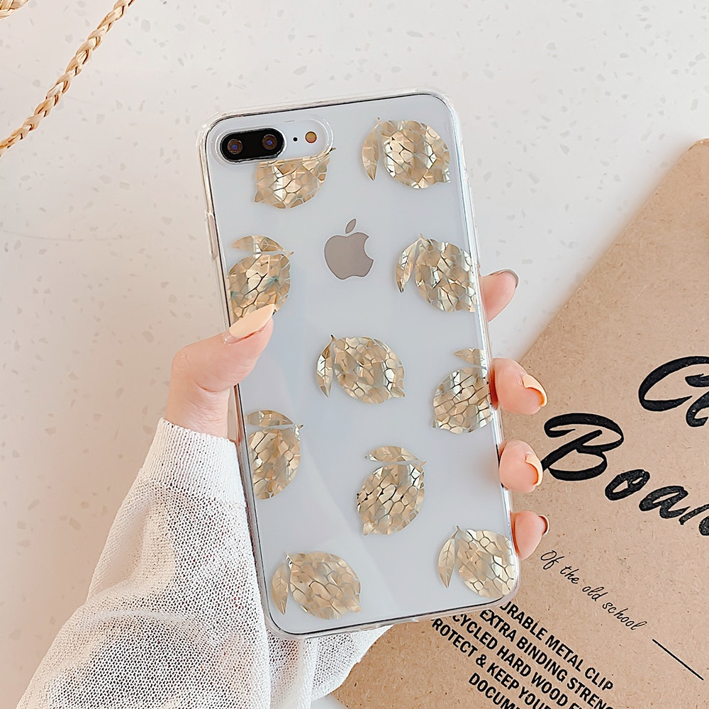 Funda transparente para teléfono LOVECOM Leaves & Pineapple para iPhone 11 Pro Max XR XS Max 7 8 Plus X funda trasera transparente suave galvanizada