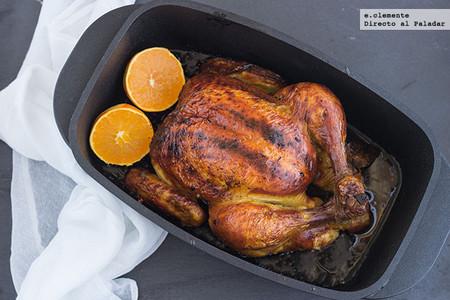 Pollo asado con cítricos y sirope de arce. Receta